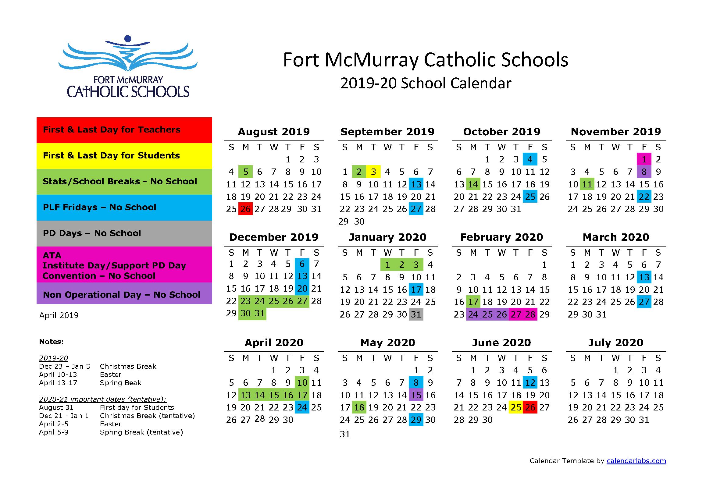 Easter 2020 Calendar.School Calendar 2019 2020 Holy Trinity School